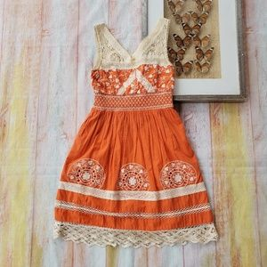 ANTHRO Aniko Orange Lace Embroidered Dress 0P